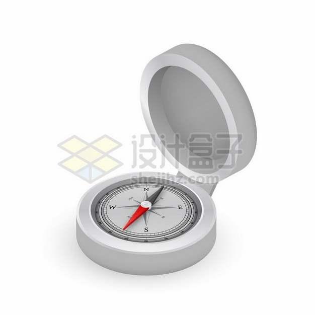 打开盖子的3D立体金属银色指南针指北针138346png图片素材