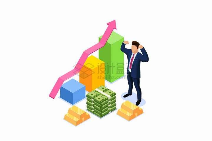 2.5D风格商务人士面对金砖美元的投资数据增长曲线和柱形图png图片免抠矢量素材