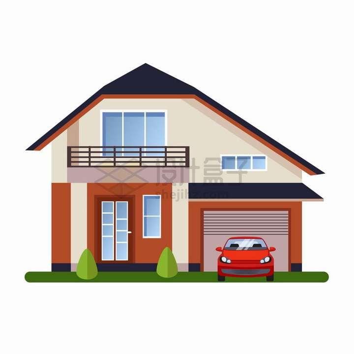 带一个车库的二层小别墅扁平化房子png图片免抠矢量素材