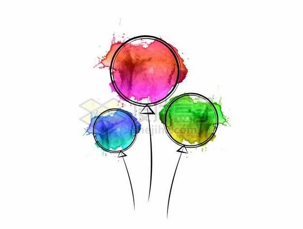 彩色泼墨风格气球图案654232png图片素材