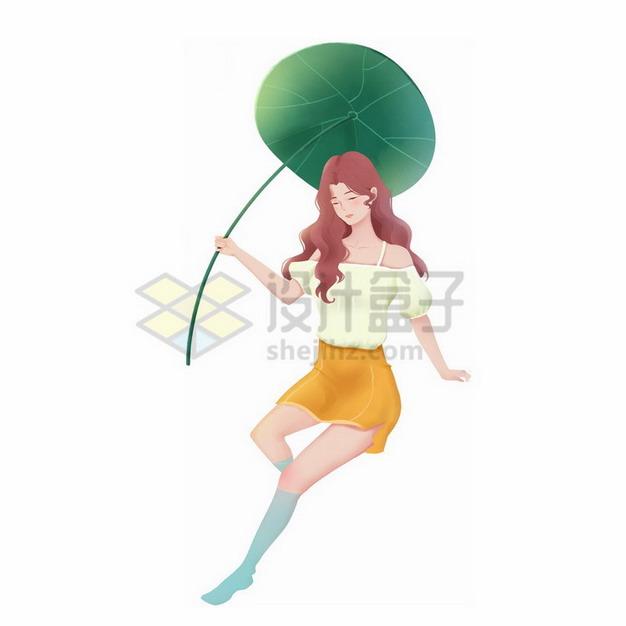 美丽的女孩拿着一个荷叶当雨伞png免抠图片素材 人物素材-第1张
