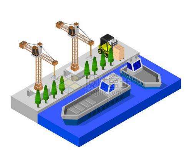 2.5D风格停靠在港口码头的货轮和吊车530615png图片矢量图素材
