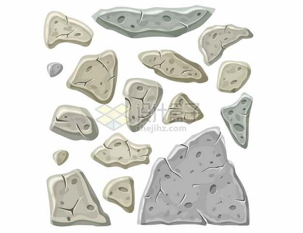 各种不规则形状的卡通石头953510png图片矢量图素材