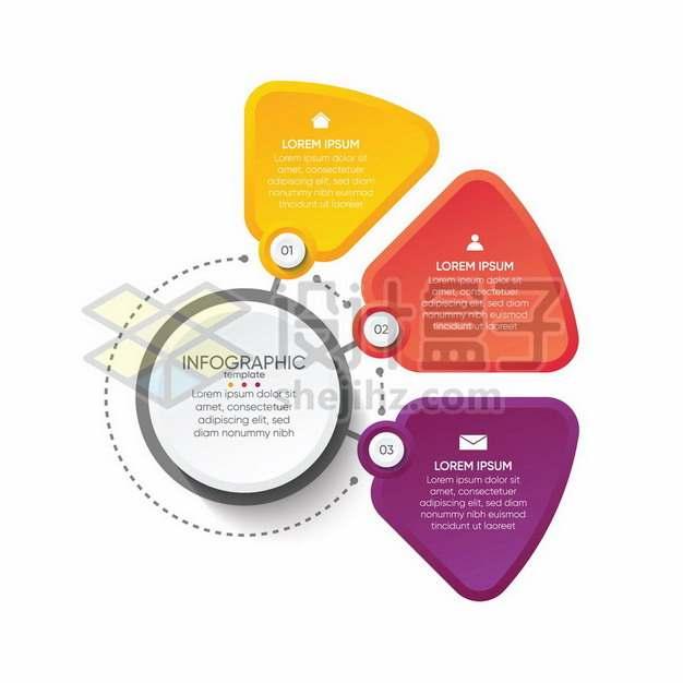 彩色扇形PPT信息图表405379 png图片素材