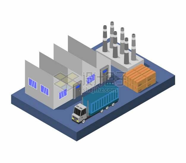 2.5D风格工厂卡车和货物510620png图片矢量图素材
