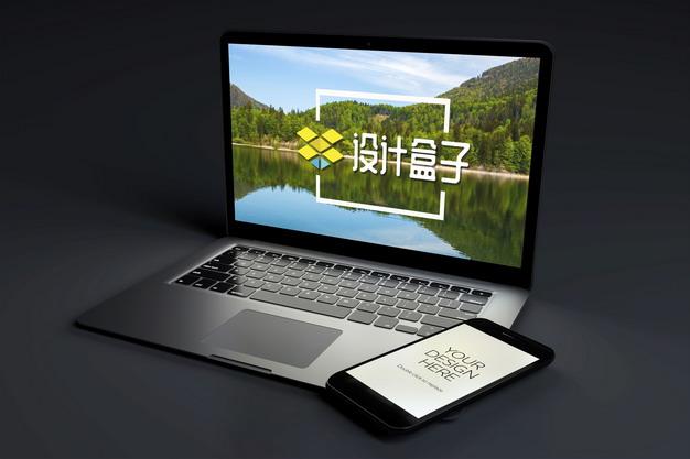 黑暗中的苹果MacBook Pro笔记本电脑和iPhone手机显示样机934146psd样机图片模板素材 样机-第1张