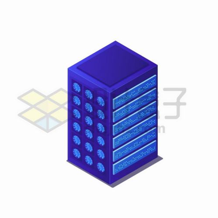 2.5D风格蓝紫色服务器机架带散热风扇png图片免抠矢量素材