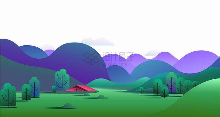 扁平插画风格紫色的大山和绿色的草地风景图png图片免抠矢量素材