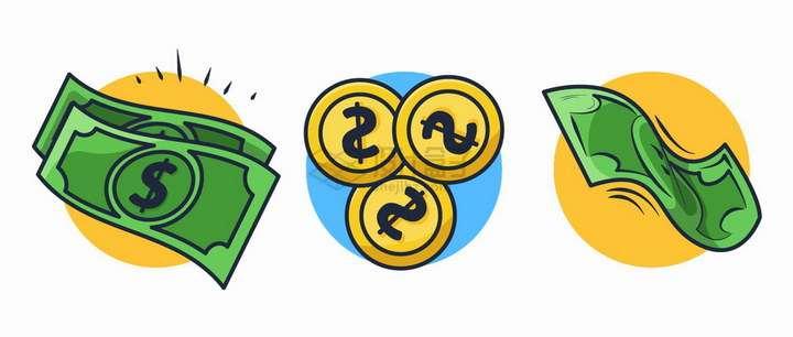 卡通美元钞票和金币硬币金融png图片免抠矢量素材