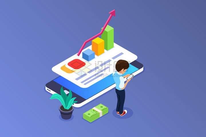 2.5D风格年轻人浏览手机上的投资曲线增长柱形图png图片免抠矢量素材