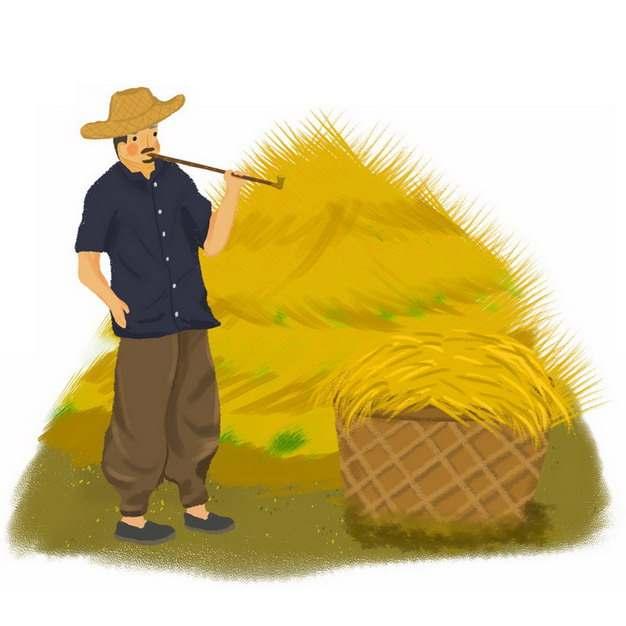 卡通农民和麦子小麦草堆插画png免抠图片素材