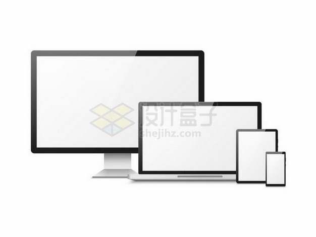黑框电脑显示器笔记本电脑平板电脑和手机展示画面png图片免抠矢量素材