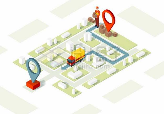 2.5D风格城市模型和快递物流送货路线图911151 png图片素材