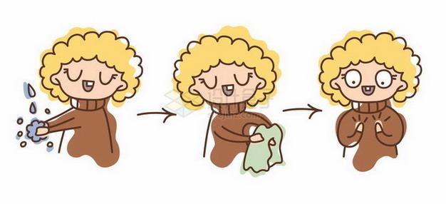 手绘卡通女孩洗手步骤图png图片免抠矢量素材 生活素材-第1张