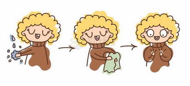 手绘卡通女孩洗手步骤图png图片免抠矢量素材