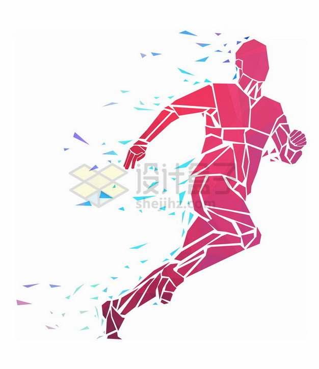 红色碎片组成快速跑步的男人抽象体育插画png免抠图片素材