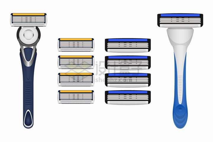 剃须刀和可更换刀片刮胡刀png图片免抠矢量素材