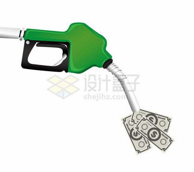 绿色加油站加油枪中冒出了美元钞票png图片免抠矢量素材