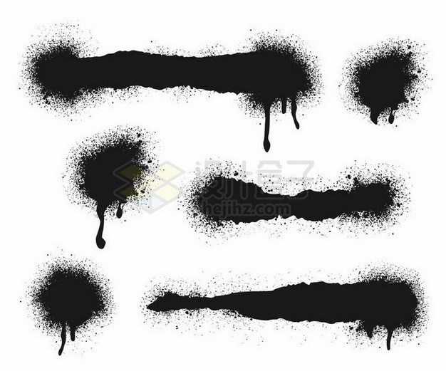 各种喷墨涂鸦风格墨水印痕png图片免抠矢量素材 边框纹理-第1张