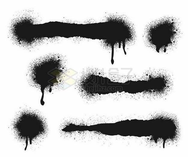 各种喷墨涂鸦风格墨水印痕png图片免抠矢量素材