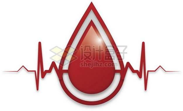 心电图和液滴血液无偿献血png图片素材
