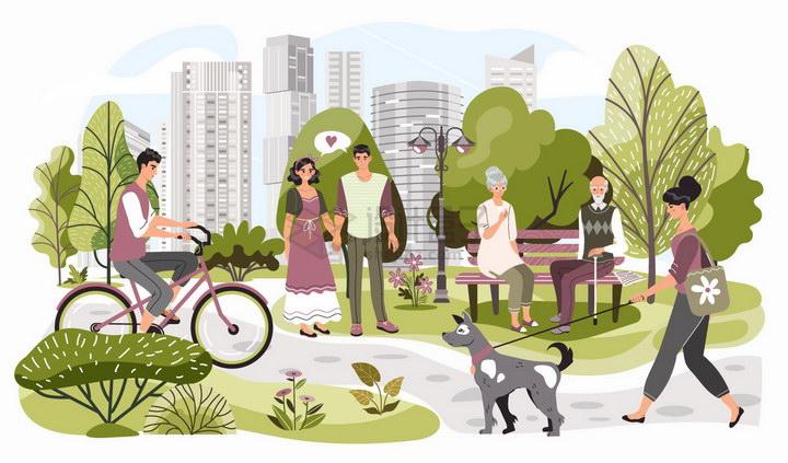 公园一角骑自行车散步遛狗的人群扁平插画png图片免抠矢量素材