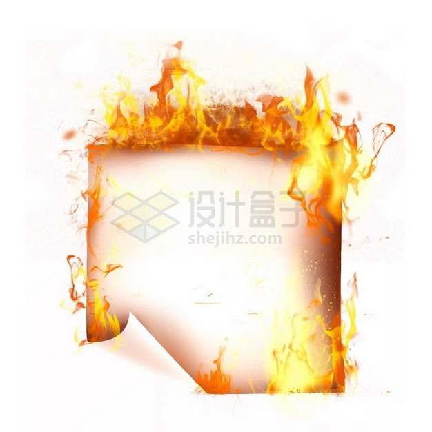 燃烧着火焰的纸张特效果8674892png图片素材