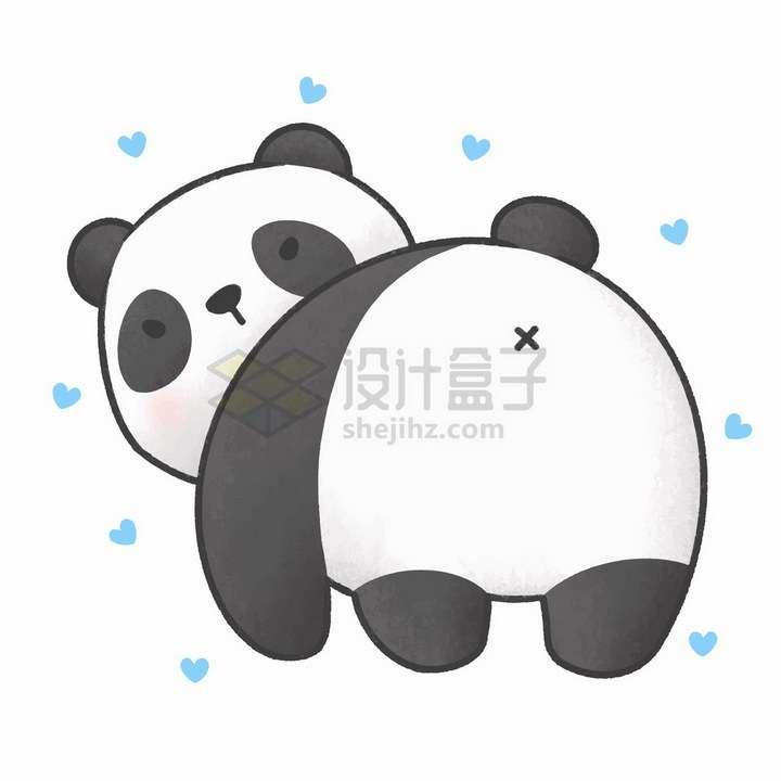 简约可爱卡通熊猫把屁股对着你png图片免抠矢量素材