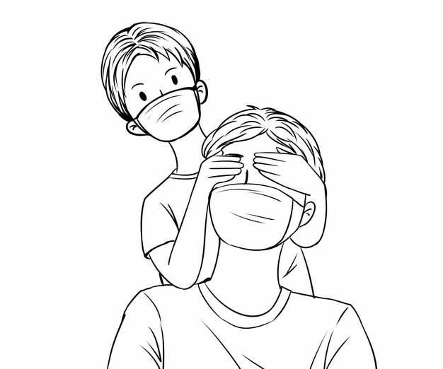 儿子调皮的遮住爸爸的眼睛父亲节线条插画117185png图片素材