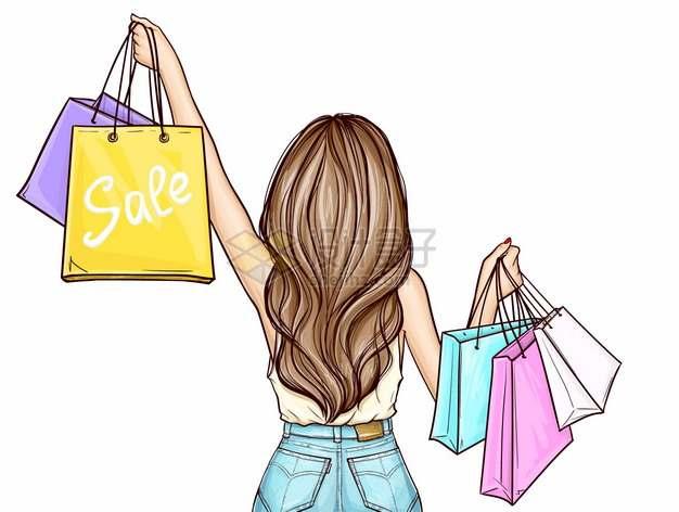 拎着购物袋的时尚女人背影插画776827png图片素材