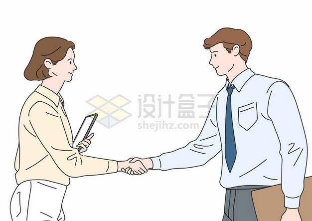 握手的商务人士彩绘插画866916png图片素材