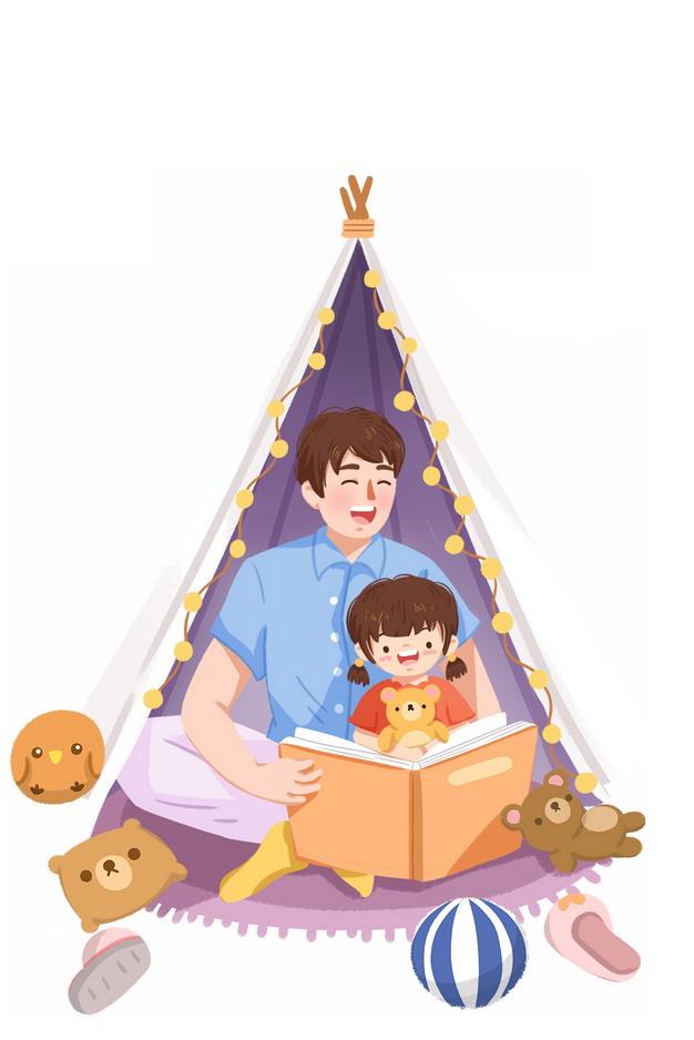 爸爸在帐篷内给女儿讲故事父亲节270636png图片素材 人物素材-第1张