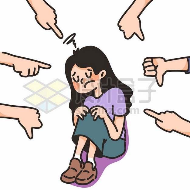 被人指责的卡通女孩png图片素材230321