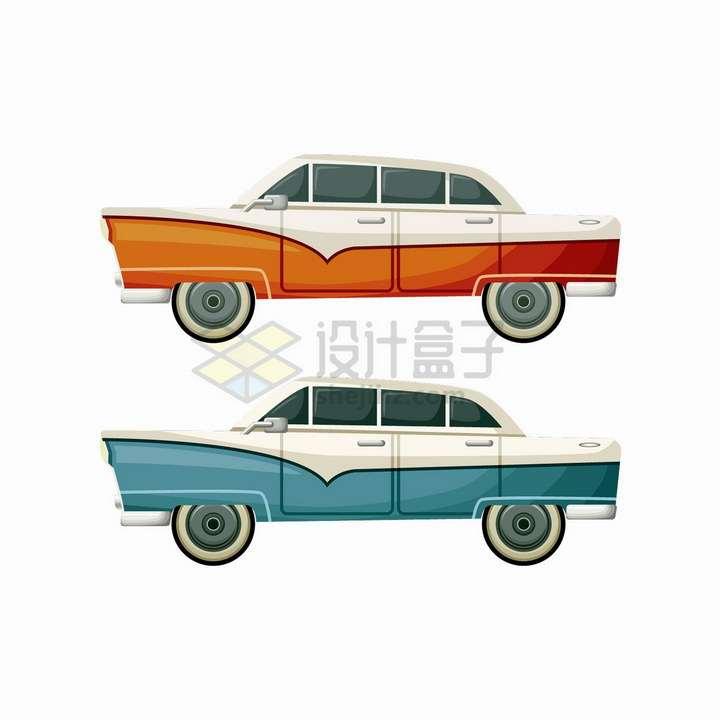 两款美式肌肉车老爷车侧面图会跳的汽车png图片免抠矢量素材