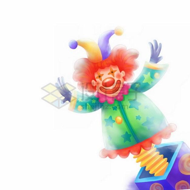 盒子里的卡通小丑玩偶愚人节彩绘插画png免抠图片素材 节日素材-第1张