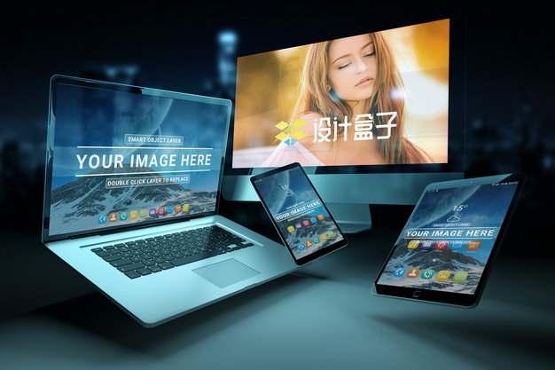 漂浮的苹果MacBook Pro笔记本电脑iPhone手机和iPad Pro平板电脑显示画面psd样机图片模板素材