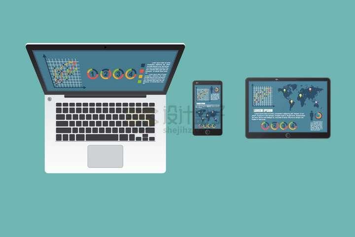 俯视视角的笔记本电脑手机和平板电脑办公三件套png图片免抠矢量素材