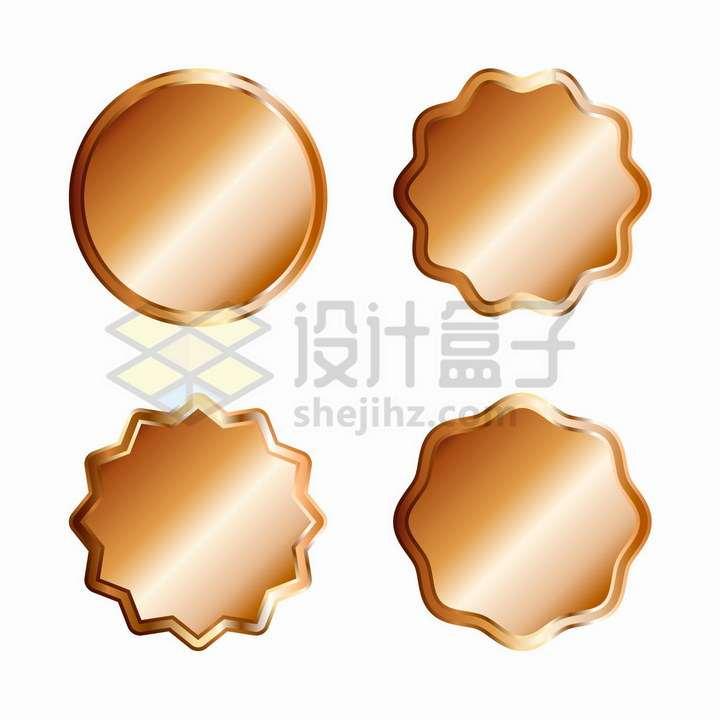 4款金属光泽效果空白徽章标签png图片免抠矢量素材