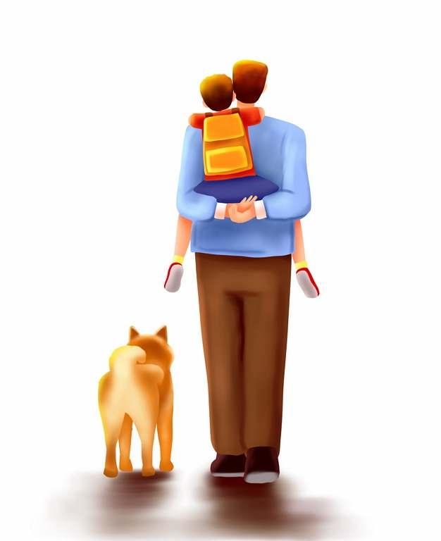 爸爸背着儿子遛狗父亲节背景插画340448png图片素材