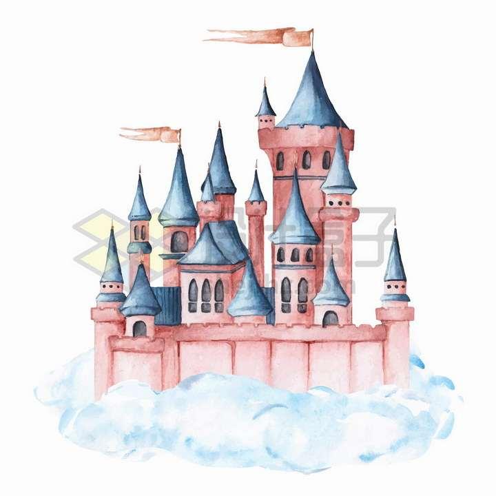 水彩画风格美丽的童话城堡png图片免抠矢量素材
