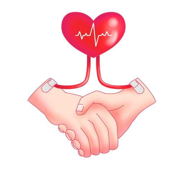 心电图爱心和握紧的双手无偿献血png图片素材
