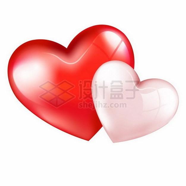 高光红色和粉色心形红心情人节png图片免抠矢量素材 节日素材-第1张