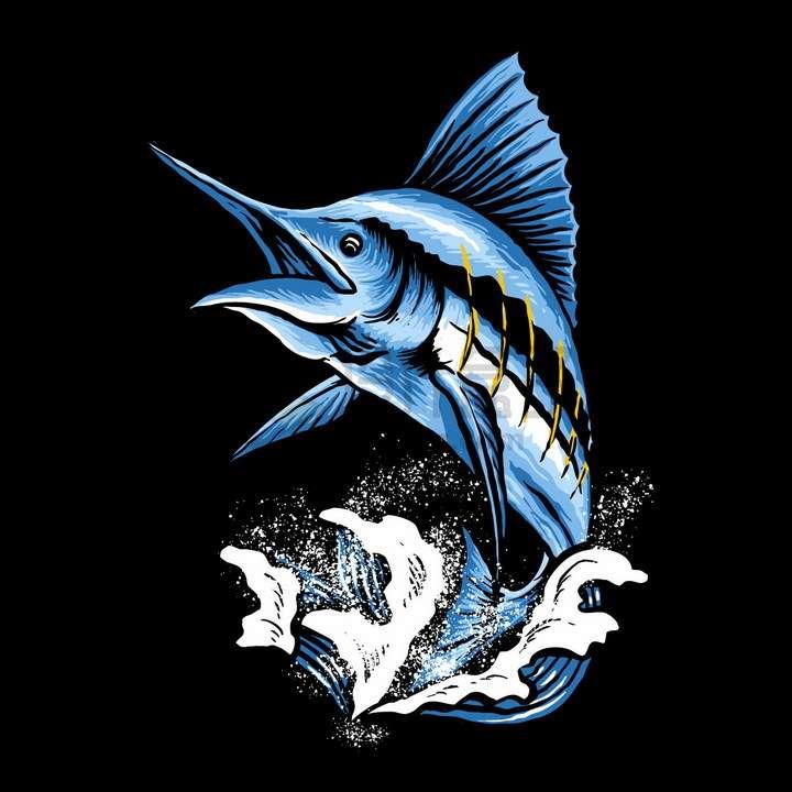 蓝色马林鱼旗鱼艺术插画png图片免抠矢量素材