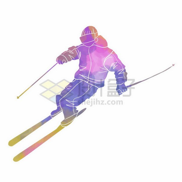 滑雪的运动员彩色涂鸦449054png免抠图片素材 人物素材-第1张