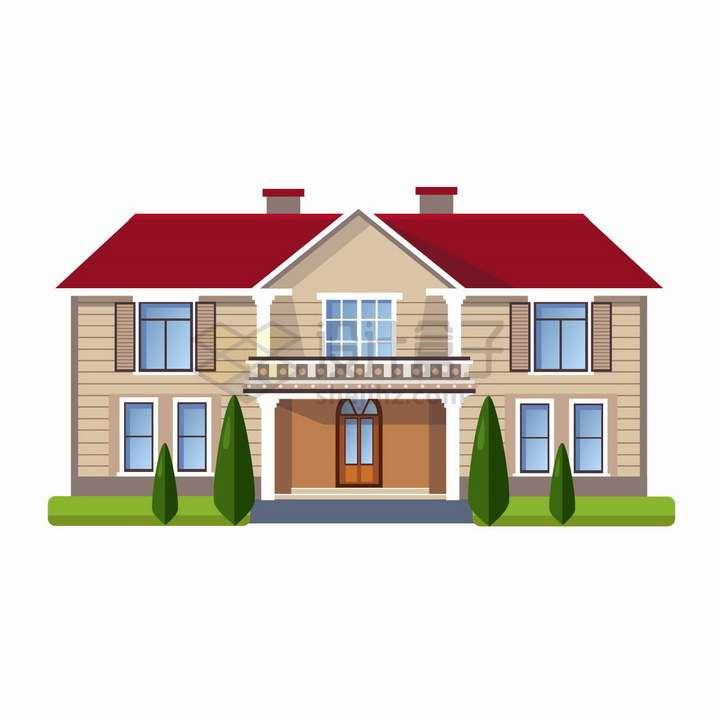 有很多房间的二层别墅扁平化大房子png图片免抠矢量素材