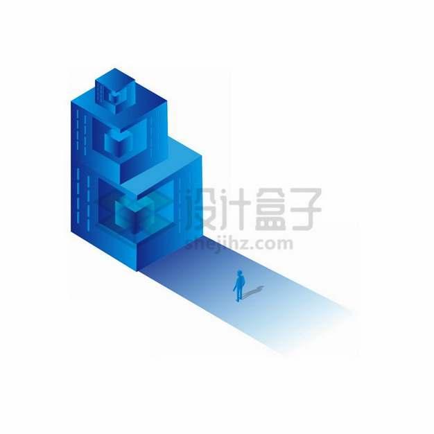2.5D蓝色科幻抽象立方体和小人儿png免抠图片素材