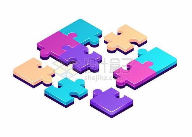 彩色3D立体拼图387107png图片素材