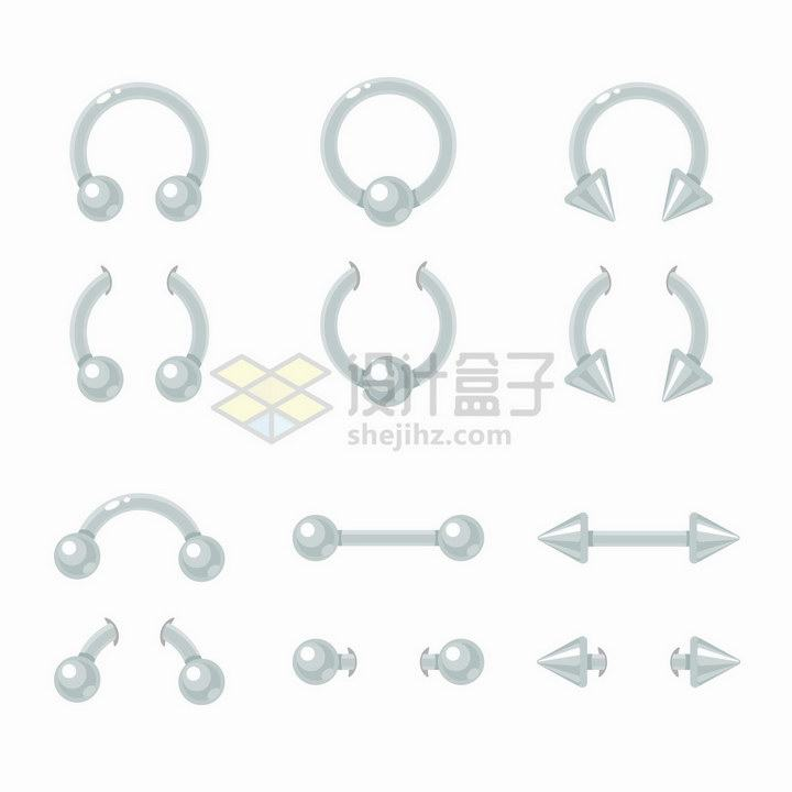 12种银色的耳环佩戴装饰png图片免抠矢量素材