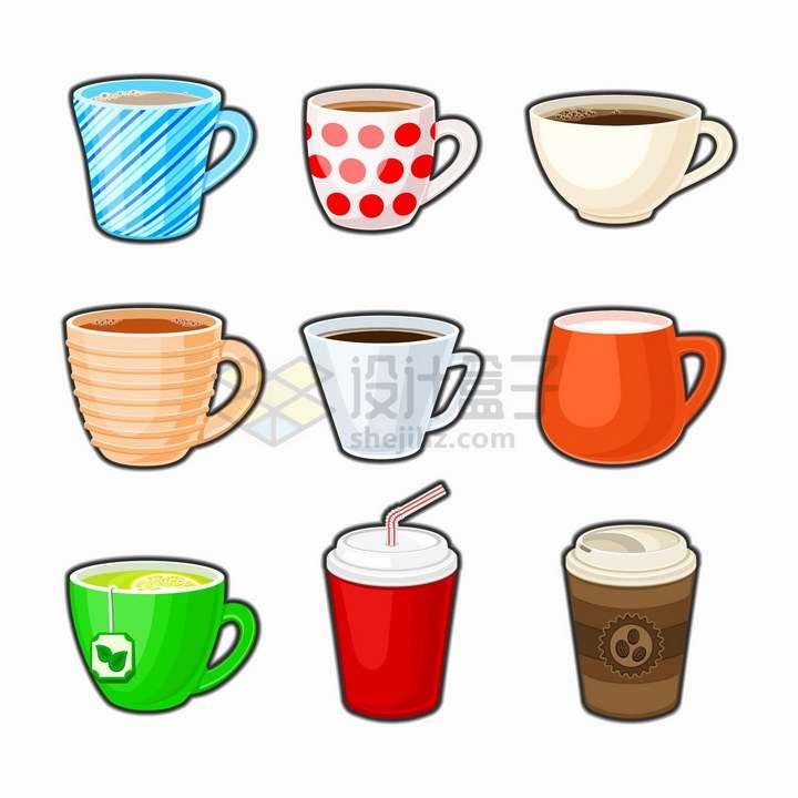 9款卡通风格的咖啡杯马克杯陶瓷杯子png图片免抠矢量素材