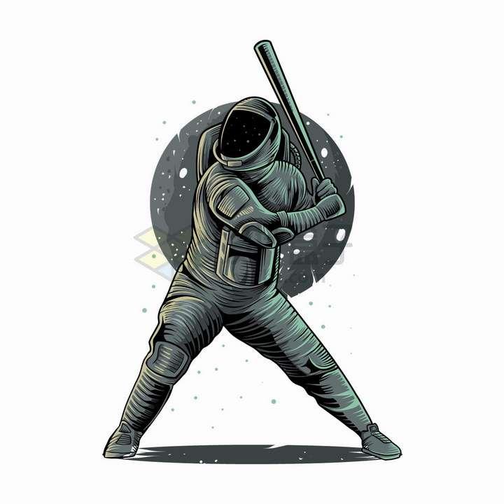 灰色宇航员打棒球抽象漫画插画png图片免抠矢量素材